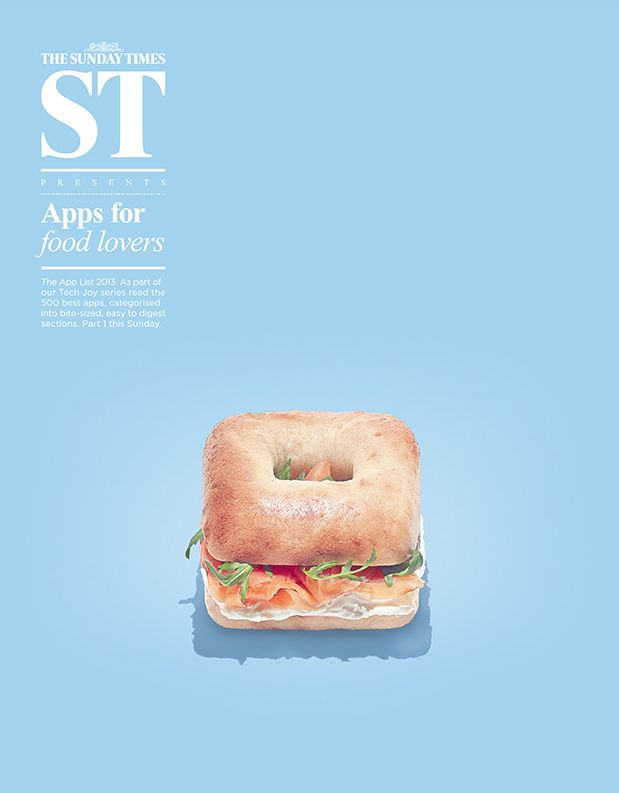 #cover Sunday Times #magazine - James Day ST ad - Apps for the food lovers - clean art direction
