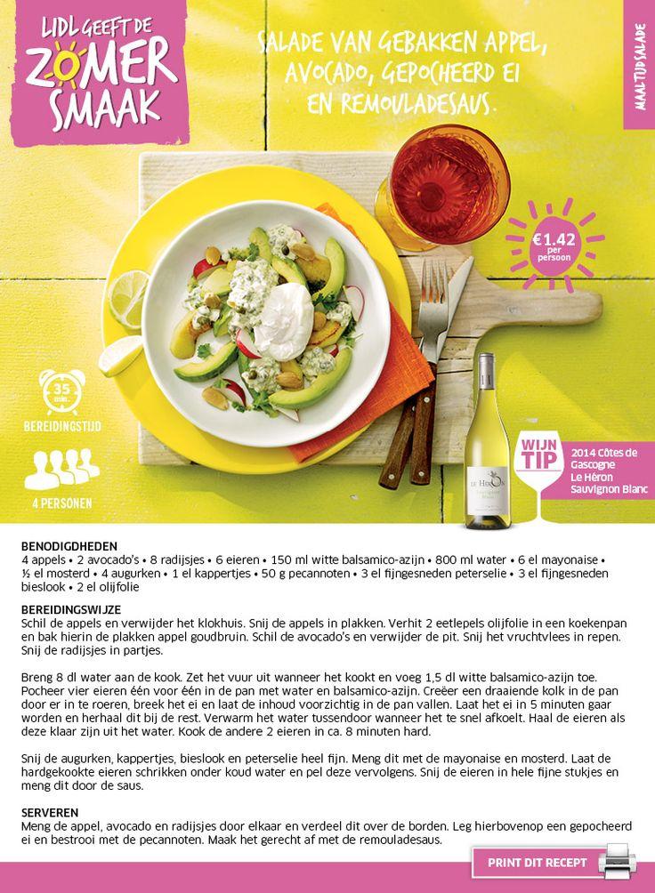 Salade van gebakken appel, avocado, gepocheerd ei en remouladesaus - Lidl Nederland