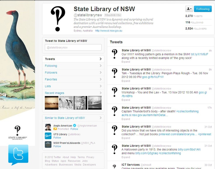 Our official State Library of NSW Twitter account features information about upcoming events.