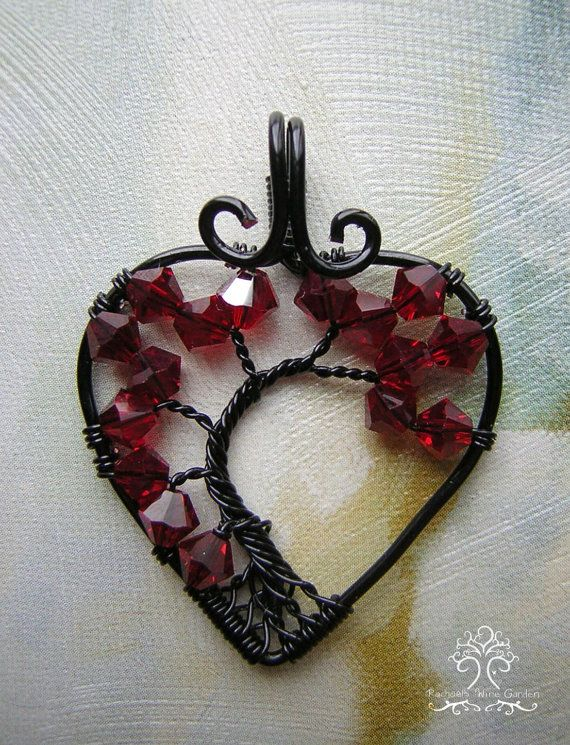 Red Swarovski Crystals Tree of Life Wire Wrapped Pendant Jewelry