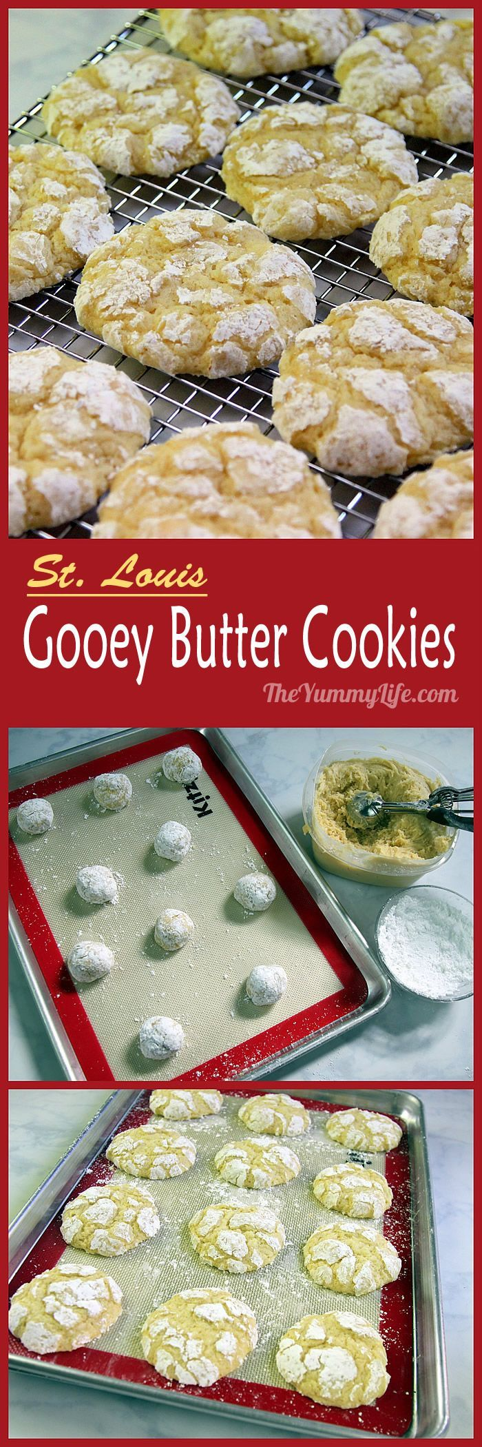 Inspired by the popular St. Louis Gooey Butter Cake, this recipe has the same taste in a melt-in-your-mouth soft cookie made completely from scratch (no yellow cake mix!). From TheYummyLife.com