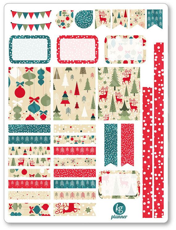 Vintage Christmas Decorating Kit / Weekly Spread Planner Stickers for Erin…