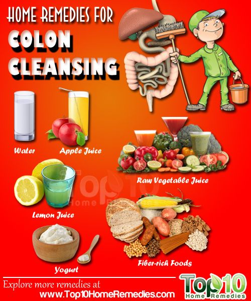 home remedies for Colon Cleansing: water, apple juice, lemon juice, raw vegetable juice, fiber-rich foods, yogurt, flaxseed, sea salt, aloe vera, ginger