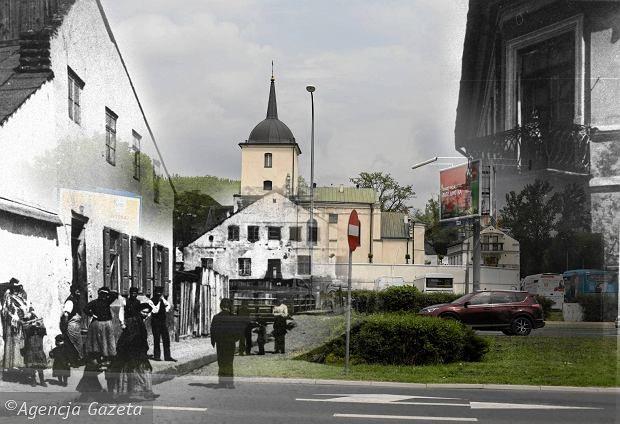 Then and now, view from Nadstawna - Lublin - Zachowała się jedynie studnia