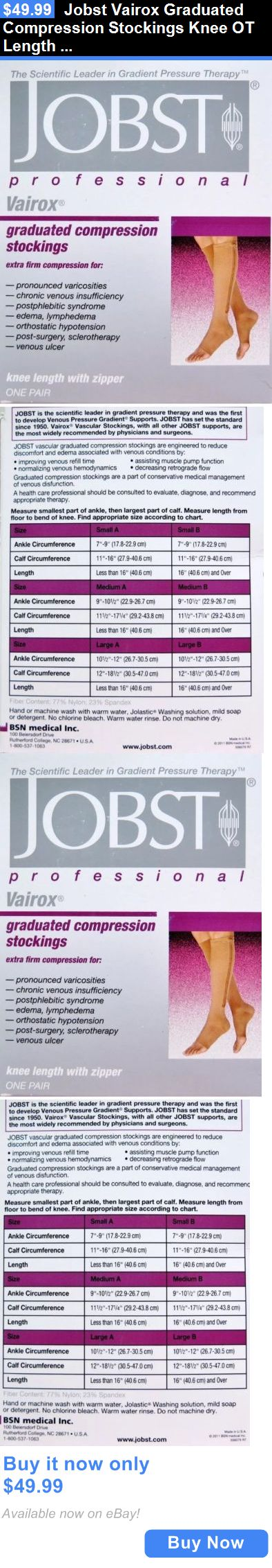 Compression Garments: Jobst Vairox Graduated Compression Stockings Knee Ot Length Zipper Large B Beige BUY IT NOW ONLY: $49.99