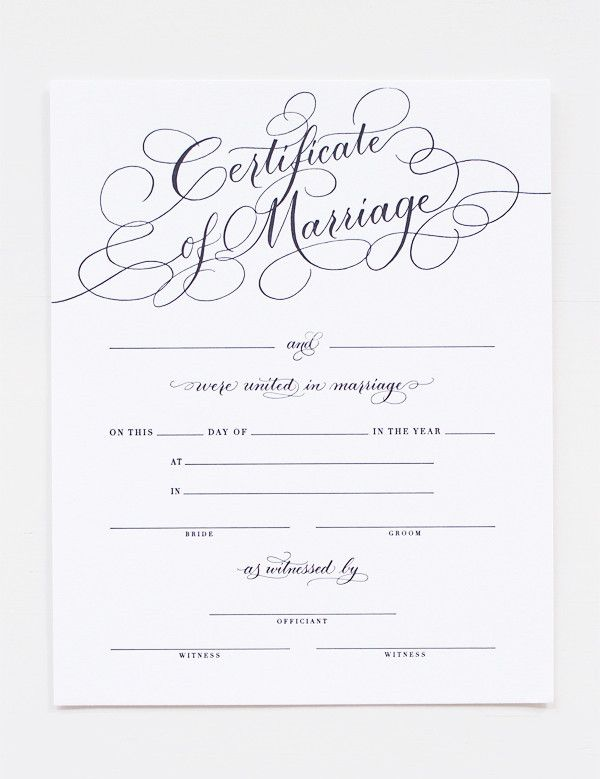 gorgeous letterpress marriage certificate