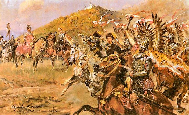 """""""Bitwa pod Wiedniem"""" (Rotmistrz Miełżyński przyprowadza Janowi III chorągiew husarską pod Wiedeń) – art by Wojciech Kossak"""