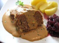 Ein Klassiker: Hackbraten mit Kartoffeln und Rotkohl (von Küchenzaubereien)