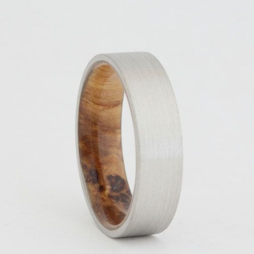 14k White Gold Ring With A Sindora Wood Sleeve Men Or Women Wooden Brushed Finish