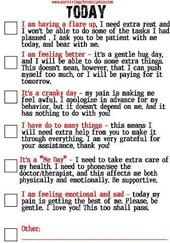 How to tell your Friends and Family What Kind of Day It Is? - living with Chronic Pain