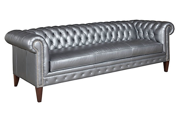 Another great gray couch with nailhead detail, and silver-hued leather! Chuck Chesterfield, Silver on OneKingsLane.com