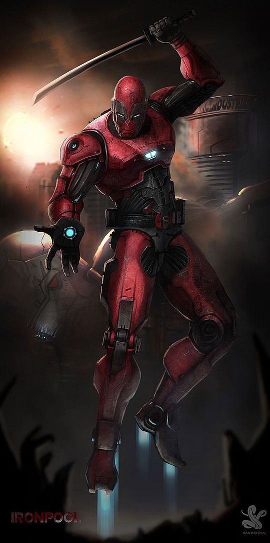 Ironpool Ironman and Dead pool mash up Digital Art by Saad Irfan