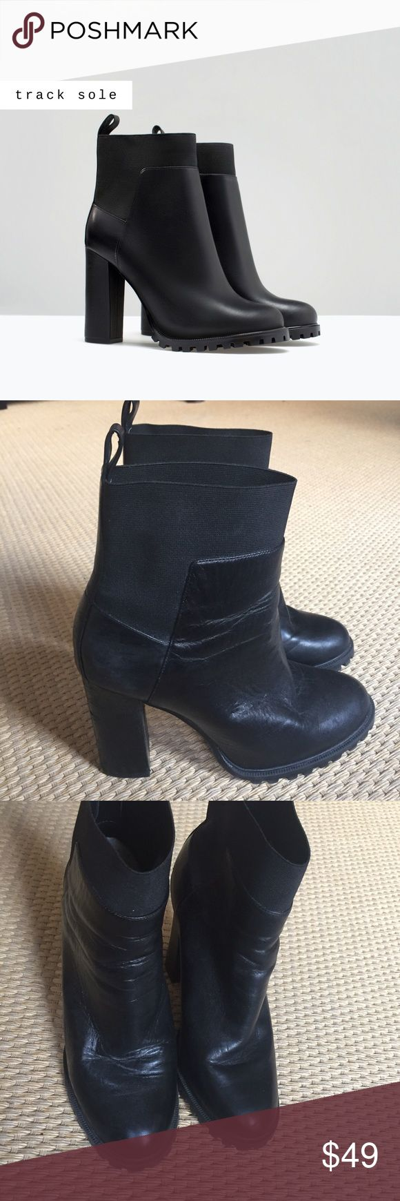 "ZARA Track Sole Leather Heeled Ankle Boot 🖤 Surprisingly Comfortable, commanding heel height! Gently used but in great condition - Black leather ankle boots with pull-on tab and elastic panels as show. Easy on easy off, but definitely feel secure to your foot! Track sole, heel height 4"" 🖤 Zara Shoes Ankle Boots & Booties"