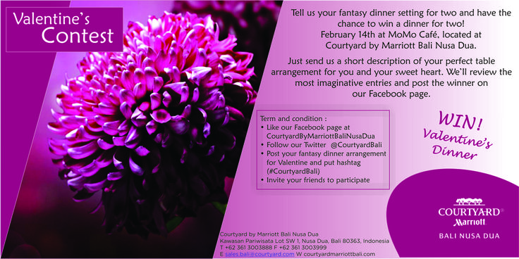 Contest to win Valentine Dinner at Momo Cafe, Courtyard by Marriott Bali Nusa Dua