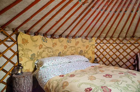 Traditional Yurt Bedroom Glamping Camping Bohemian Style Stars