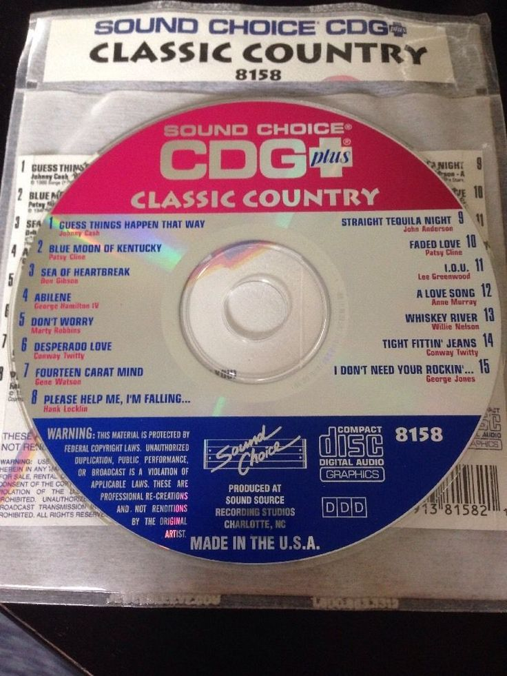 Sound Choice CDG Karaoke #8158 Country Classics Laser Disc #SoundChoice