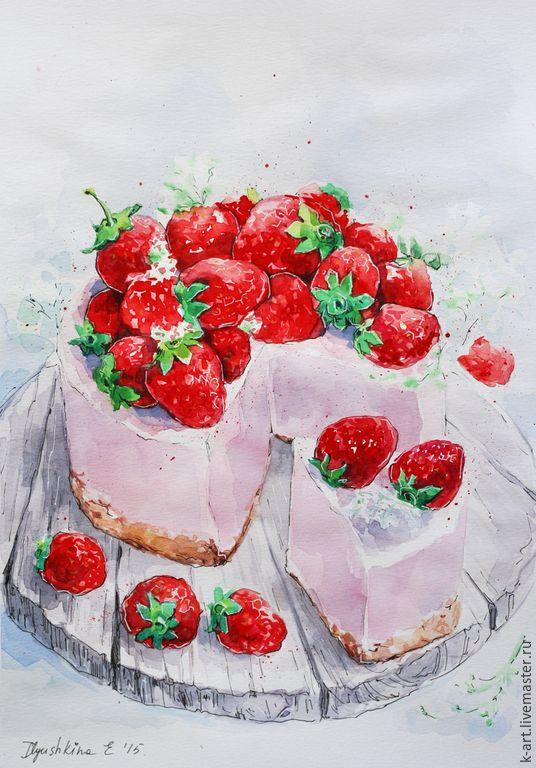 Купить Клубничное суфле - розовый, красный, клубничный, клубника, пироженное, суфле, торт, капкейк, cake
