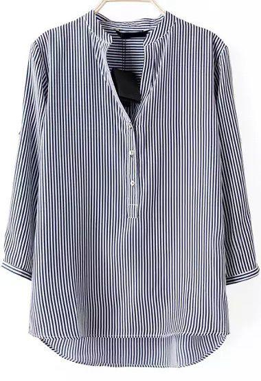 Blue Long Sleeve Vertical Stripe Loose Blouse