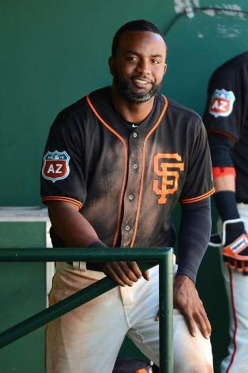 Giants-Dodgers tickets plunge to $6 after brutal start  -  April 24, 2017:    SCOTTSDALE, AZ - MARCH 09: Denard Span #2 of the San Francisco Giants smiles in the dugout during the spring training game against the Colorado Rockies at Scottsdale Stadium on March 9, 2016 in Scottsdale, Arizona. (Photo by Jennifer Stewart/Getty Images)