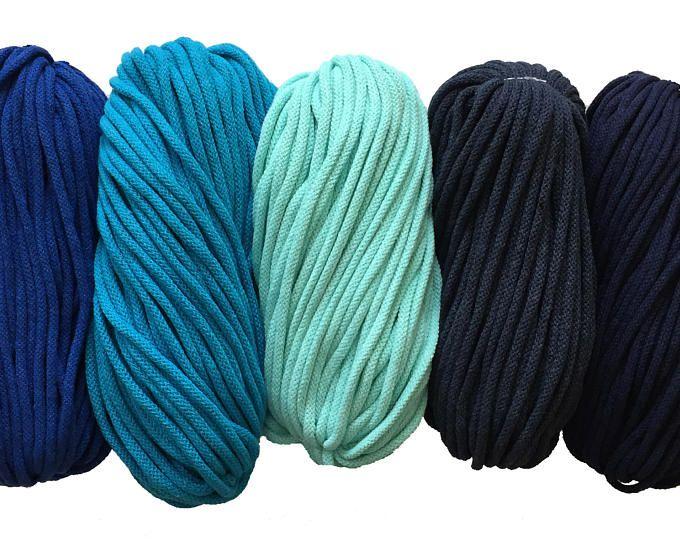 Baby blue cotton yarn 5mm cotton rope zpaghetti yarn knitting basket rug macrame crochet zpagetti thick yarn