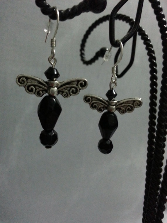 Black Bead Dragonfly Earrings with Silver by CavettaCreations, $7.50