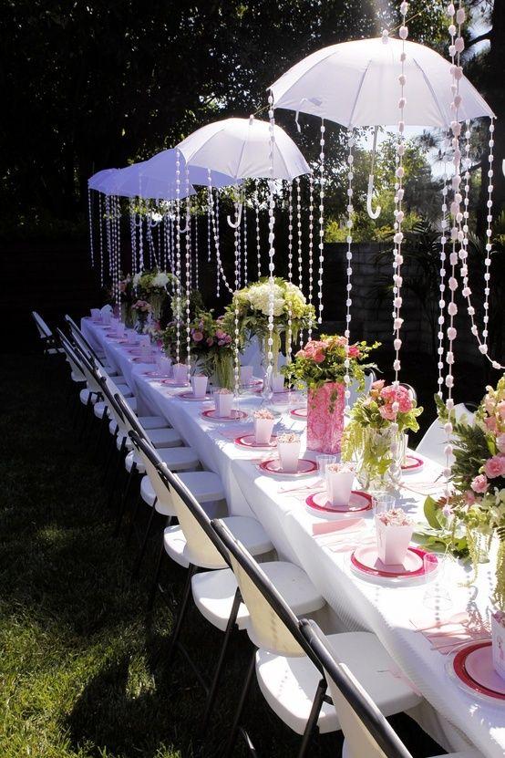 Baby or bridal shower idea, umbrella decor