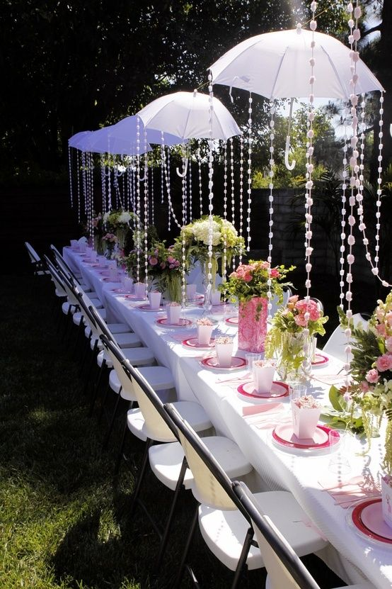 Baby or bridal shower idea, umbrella decor