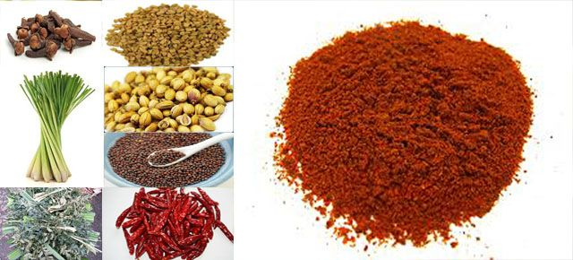 100 g  Red Chillie dried 50 g  corriander seeds 5 tbs  sweet cummin 5 rbs cummin 2 tbs Fenugreek 10 Cloves 10 Cardamoms 2 inch cinnamon 3 inch Rampe 4  inch Lemon grass 6 sprigs curry leaves 2 tbs mustard seeds 1 1/2  turmeric powder