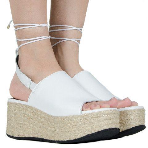 Espadrille flatform branca de couro Taquilla - Taquilla: Calçados femininos online