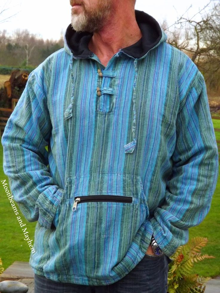 FABULOUS BLUE HIPPIE FLEECE LINED HOODIE  UK SIZE 18 / LARGE / 46'' 48''