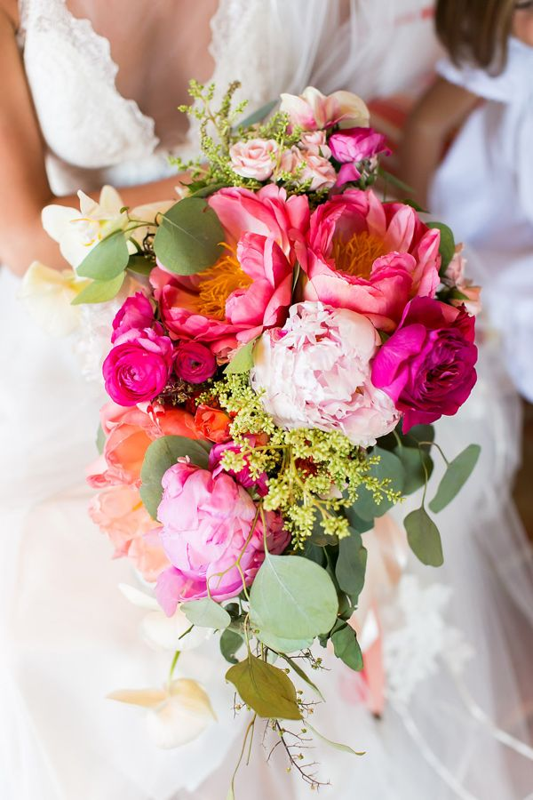 pink bouquet - photo by Ana and Jerome Photography http://ruffledblog.com/colorful-joyous-wedding-in-cabo-san-lucas