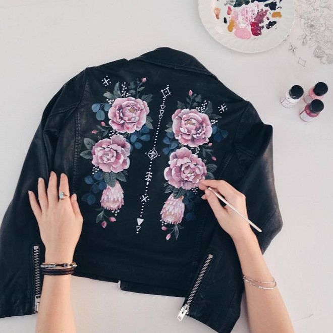 Hand painted jacket / Rosie Harbottle