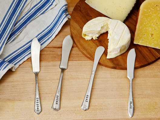 Hand-Stamped Cheese Knives.