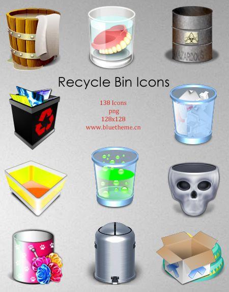 138 Recycle Bin Icons by bluetheme