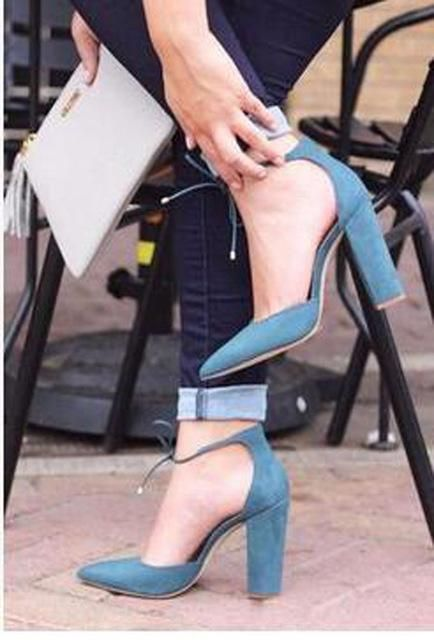 c72283752 High Quality Women Pointed Toe Suede Leather Lace-up Thick Heel Pumps  Cut-out Ankle Strap Square High Heels Dress Shoes
