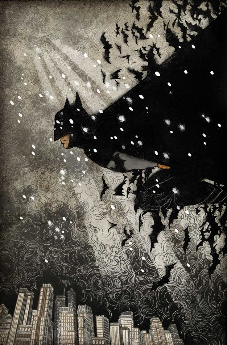 BATMAN Detective Comics cover by Yuko Shimizu.  Every beautiful Batman cover that one wants to see has already been done. As someone who didn't grow up with American comics, it was a huge challenge. At the end, I decided to focus on the environment Batman is in, rather than the character himself, hopefully to put emphasis on mood rather than action of the superhero.