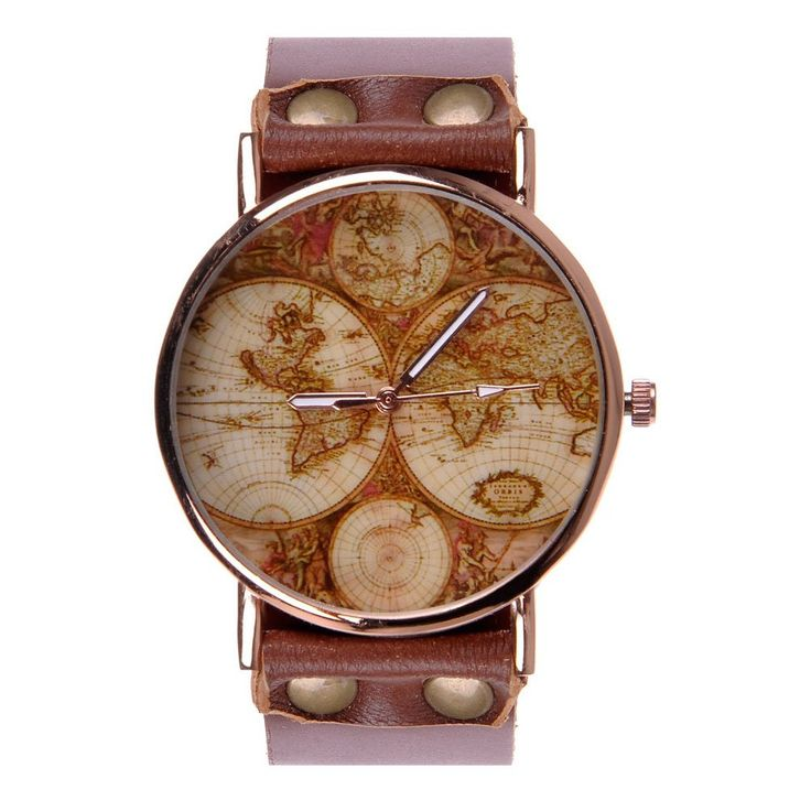 37 best watches images on pinterest wood watch wooden clock and womens unisex world map watch vintage brown leather strap classic golden edge at amazon mens watch gumiabroncs Gallery