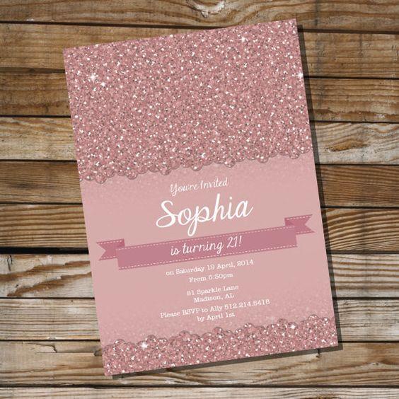 Pink gold glitter 18th birthday invitation for girl, modern teen - best of invitation letter sample for debut