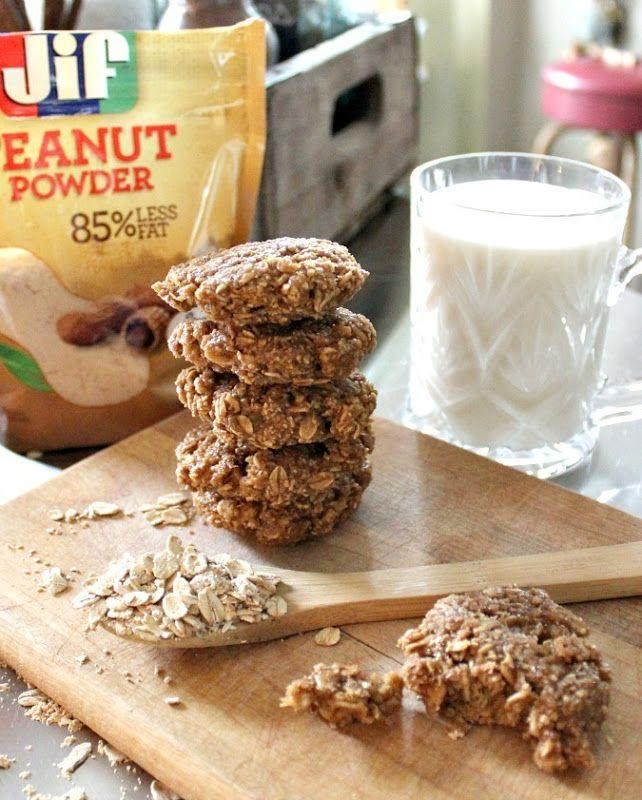 peanut-butter-oatmeal-cookies- using Jif Peanut Powder- love this stuff!