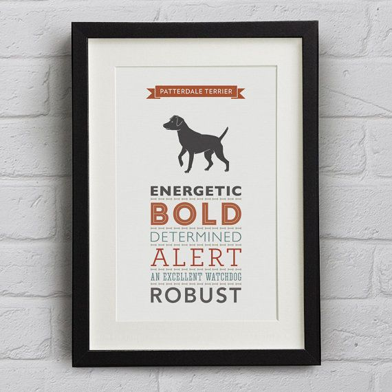 Dog Breed Print Patterdale Terrier by WellBredDesign on Etsy, £12.95