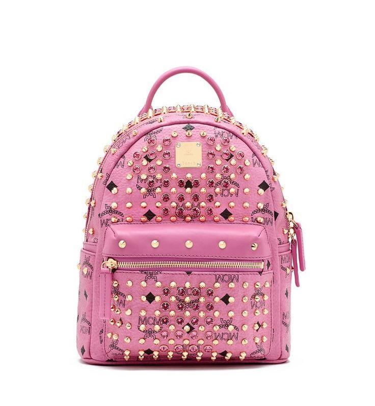 MCM DIAMOND STARK BACKPACK PINK - MCM-1 #mcm #backpack #pink #bag