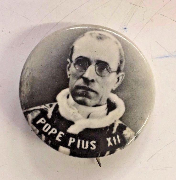 Vintage POPE PIUS XII Button Pin Religious Catholic Catholicism Church Faith WOW