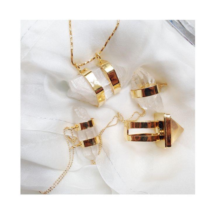 #necklace #rings #gold # gemstones #quartz