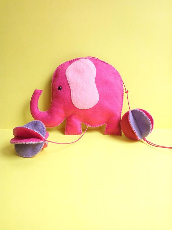 Color up your child's nursery with this cute pink elephant mobile!