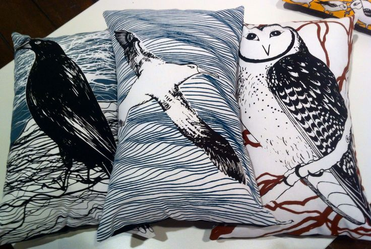 Tasmanian endangered species cushions including the Wandering Albatross and Masked Owl