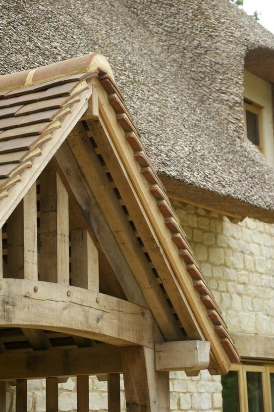 Standard Border Oak porch on a new build thatched cottage.