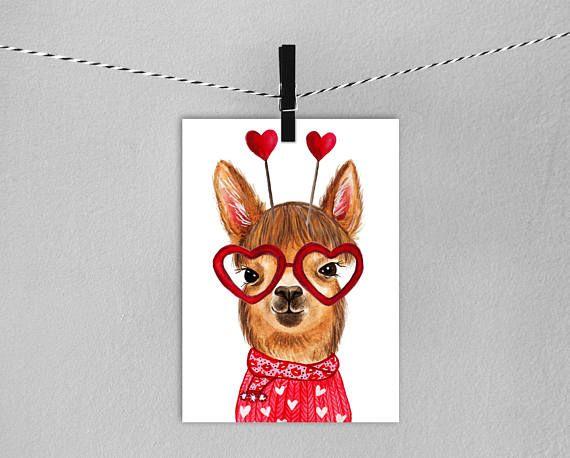 Llama Valentines Card // Instant Download Printable Llama Card