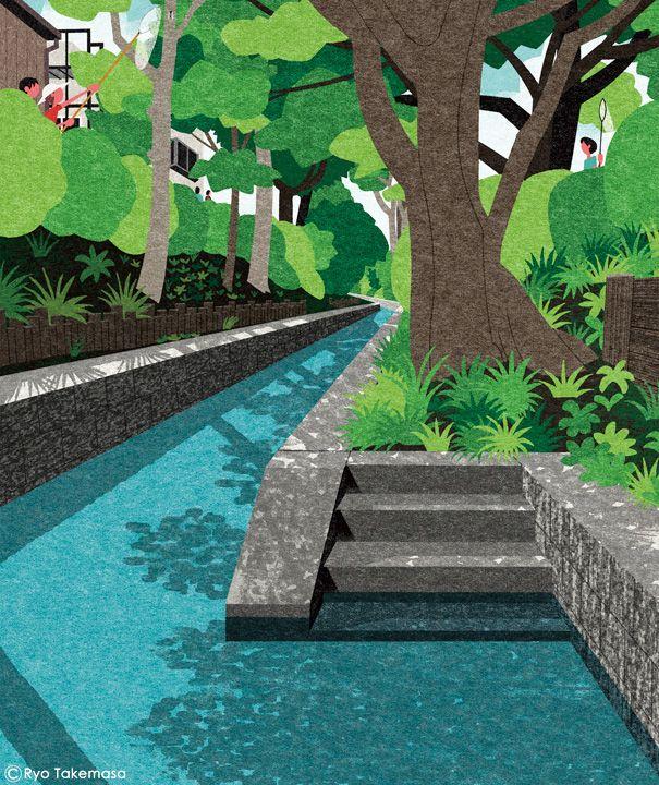 Ryo Takemasa - Cover illustration for Quarterly Magazine Musashino, summer 2016 issue.