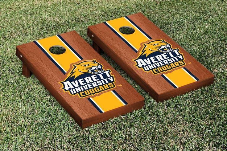 Cornhole Set - Averett University Cougars Rosewood Stained Stripe Version