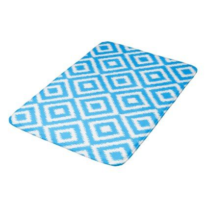 Hip Azure Blue Ikat Diamond Squares Mosaic Pattern Bathroom Mat - pattern sample design template diy cyo customize